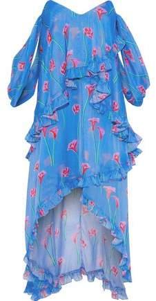 Caroline Constas Melina Off-the-shoulder Draped Floral-print Silk-chiffon Dress