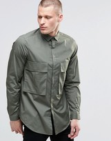 Asos Oversized Shirt In Khaki With Drop Pocket And Long Sleeves