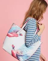 Joules Revery Print Reversible Shoulder Bag in Silver Pheasant Print in One Size