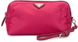 Prada Pre Owned Triangle Logo Cosmetic Bag