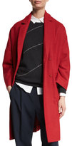 Brunello Cucinelli Flannel Drop-Shoulder Coat, Poppy