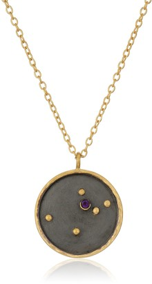 Satya Jewelry Zodiac Gold-Plated Amethyst Aquarius Constellation Necklace (18-Inch)
