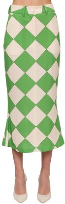 ROWEN ROSE Printed Crepe Pencil Skirt