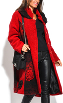 Red Abstract Wool-Blend Coat - Plus Too
