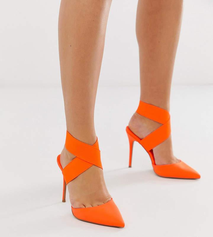 Asos Design DESIGN Wide Fit Payback elastic high heels in neon orange