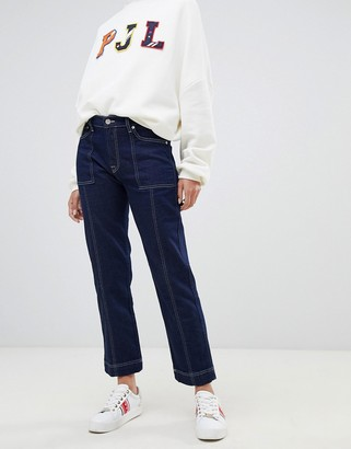 Pepe Jeans high rise straight leg jean with contrast stitch-Blue