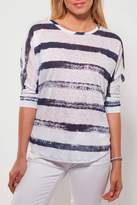 Ecru Striped Linen Tee