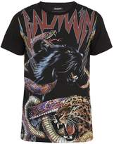 Balmain Logo and animal-print cotton T-shirt