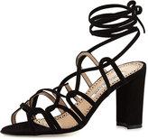 Manolo Blahnik Jena Suede Lace-Up Sandal, Black