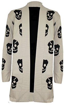 Oops Outlet Womens Skull Front Open Waterfall Sweater Long Knitted Cardigan Top
