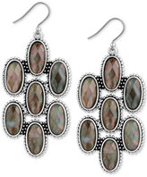 Lucky Brand Silver-Tone Mother-of-Pearl-Look Chandelier Earrings