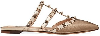 Valentino Rockstud Flat Metallic Leather Mules