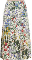 Gucci Pleated Floral-print Silk-crepe Midi Skirt - Ivory
