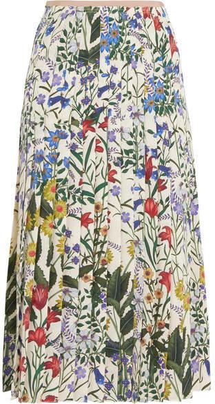 Gucci Pleated Floral-print Silk-crepe Midi Skirt - Ivory