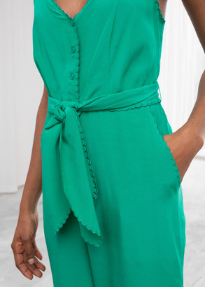 And other stories Belted Scalloped Edge Jumpsuit