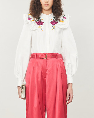 Erdem Caterina floral-embroidered cotton-poplin top