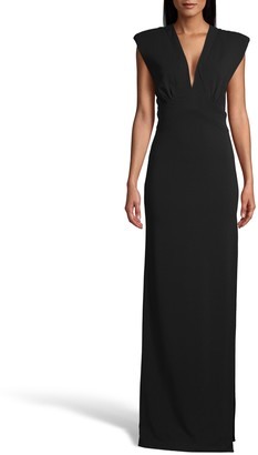 Nicole Miller Heavy Jersey V Neck Column Gown