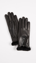 Agnelle Marina Leather Fur Gloves