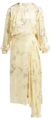 Preen by Thornton Bregazzi Doreen Floral Devore Silk Blend Dress - Womens - Yellow Multi