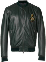 Dolce & Gabbana embroidered patch leather bomber jacket