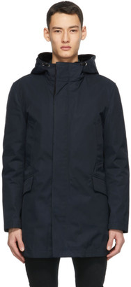 Yves Salomon Navy Down Mix Parka