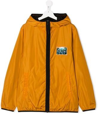 No21 Kids Metallic Logo Patch Hooded Jacket