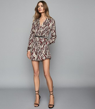 Reiss Tara - Wrap Front Printed Playsuit in Brown/white