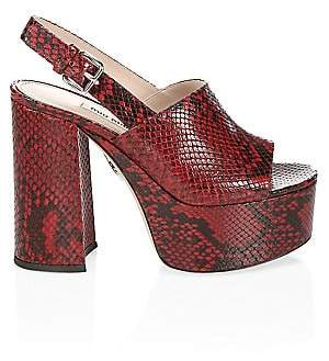 0fc924cb83 Miu Miu Women's Snake-Print Leather Platform Sandals