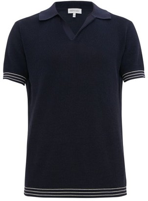 Odyssee - Striped-trim Cotton Waffle-pique Polo Shirt - Mens - Navy Multi