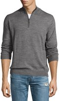 Neiman Marcus Wool-Blend Quarter-Zip Mock-Neck Sweater, Gray Mist