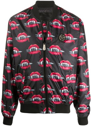 Philipp Plein Vampire Mouth Printed Bomber Jacket