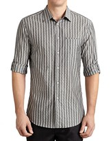 John Varvatos Collection Vertical Stripe Dot Slim Fit Button Down Shirt
