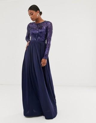 City Goddess long sleeve sequin bodice maxi dress-Navy