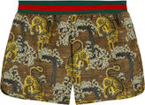 Gucci All-over tiger print surfer shorts