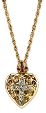 "Symbols of Faith 14K Gold-Dipped Crystal Heart Cross Locket Necklace 18"""