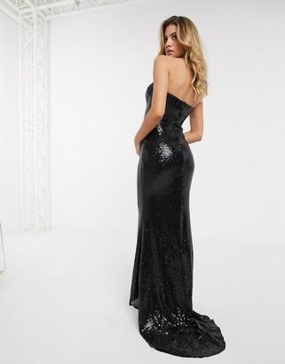 Club L London sequin bandeau maxi dress in black