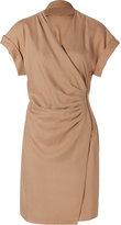Camel Silk Zipped Wrap Dress