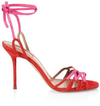 Aquazzura Azur Ankle-Wrap Colorblock Suede Sandals
