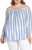 Vince Camuto Plus Size Women's Stripe Cold Shoulder Blouse