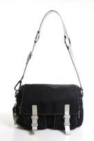 Francesco Biasia Black Nylon Silver Tone Leather Contrast Flap Shoulder Handbag