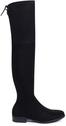 Linzi GIOVANNA - Black Suede Over The Knee Flat Suede Boot with Tie Up Back