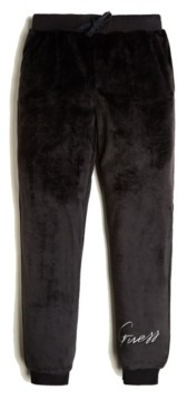 GUESS Big Girls Velour Metallic Embroidered Logo Joggers