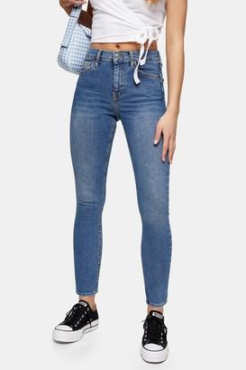 Topshop PETITE Mid Stone Abraided Hem Jamie Skinny Jeans