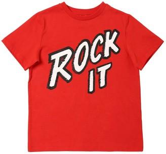 Stella Mccartney Kids Rock It Print Cotton Jersey T-Shirt