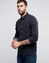 Asos Regular Fit Slubby Viscose Shirt In Black