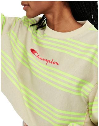 Champion Reverse Weave Crop Crew Stripe W Script