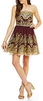 Jodi Kristopher Strapless Foil Embroidered Swing Party Dress
