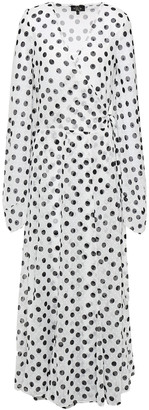 De La Vali Polka-dot Swiss-dot Georgette Maxi Wrap Dress
