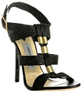 Jimmy Choo black waxed leather 'Serena' sandals