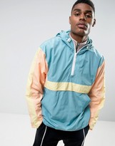 Asos Overhead Windbreaker With Cut And Sew Panels In Blue